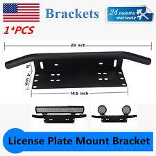 23'' Bull Bar Front Bumper License Plate Mount Bracket LED Work Light Bar Holder