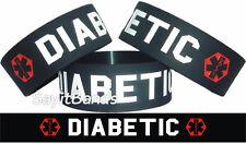 B1G1 Free = 2 Diabetic Medical Alert Silicone Bracelet Black with White Text