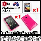 LG Optimus L2 E405 Hot Pink Soft Jelly TPU Gel Skin Case Cover Screen Protector