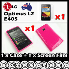 LG Optimus L2 E405 Hot Pink Soft Jelly TPU Gel Skin Case Cover Screen Protector