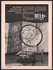 1970 BELL JetRanger Helicoptor Vintage Aviation Photo AD Northeastern USA Map