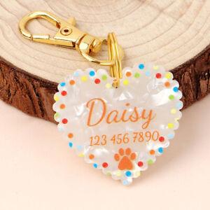 Lightweight Cute Love Heart Shape Custom Dog Tag Disc Pet Name Pawprint Engraved