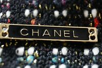 One 1 Auth Chanel button 1 pieces   1,3 inch  Long  Emblem Gold Black