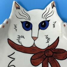 """New listing Cats by Nina by Nina Lyman Large Plate 12"""" x 9"""" White Cat"""