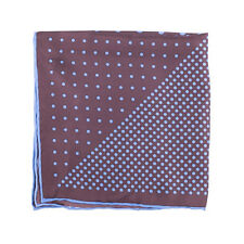 Dion Large Silk Pocket Square in Brown w/ Blue Polka Dots
