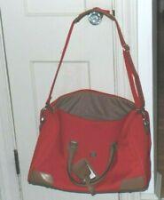 Diane Von Furstenberg Red Canvas Weekender Travel Bag
