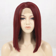 """12"""" Wine Red Bob Hair Synthetic Lace Front Wig For Pretty Women With 150%Density"""