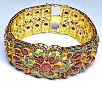925 Sterling Silver Natural Rose Cut Diamond, Ruby, Emerald Victorian Bracelet