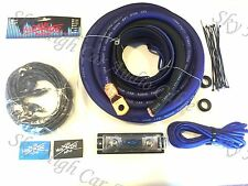 Oversized 1/0 Ga OFC AWG Amp Kit Twisted RCA BLUE Black Complete Sky High Car
