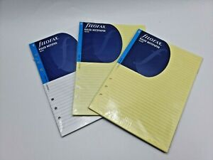 Lot of 3 filofax ruled notepaper A5 2 Yellow (343010) 1 White (342210) Free Ship