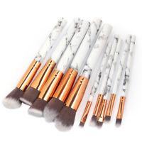 10Pcs Makeup Brushes Kit Set Powder Foundation Eyeshadow Eyeliner Lip Tools UK^^