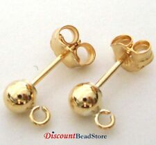 4pcs 14k Rose Gold Filled 5mm Ball Bead Earring Posts with Earring Backing E72rg