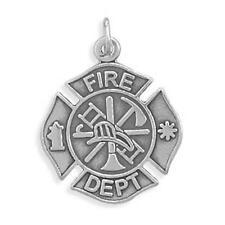 Firefighter Maltese Cross Fireman Charm Sterling Silver Pendant Fire