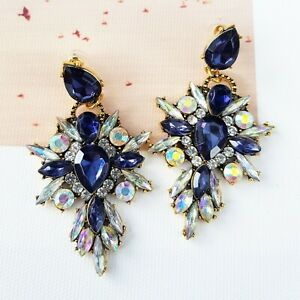 Statement Navy Blue & White Crystal Drop Cluster Cocktail Chandelier Earrings