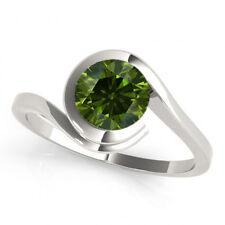 0.50 Carat Fancy Green Diamond Engagement Ring 14k White Gold Best Price Ever!!!