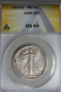 1936  .50   ANACS  MS 64  Walking Liberty, Half Dollar, Lady Liberty Half