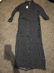 *NEW With Tags* Black Patterned Buttoned Maxi Dress Size 14