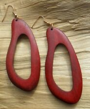 Wooden African Style Cutout Red/Brown Hook Earrings Long Length 7.5cms x 3.5cms