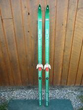 """NICE OLD VINTAGE Wooden 62"""" Snow Skis Has GREEN Finish and Bindings"""
