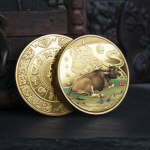 Year of the Ox 2021 Commemorative Coin. Taurus. Chinese New Year. Painted.
