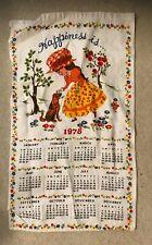 Vintage 1978 Calendar Tea Towel Girl Dog Happiness is. Trees Flower
