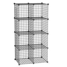 Interlocking Metal Wire Shelves Organizer Bookshelf 8 Cubes Storage Cabinet Unit