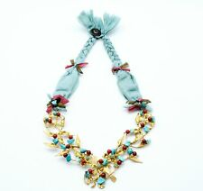 Ottoman style Silk, Semi precious gemstone necklace Turquoise red Coral