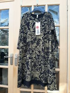 WENDY TRENDY BEAUTIFUL BLACK & BRONZE VERY QUIRKY ZIP FRONT DRESS -OSPLUS -BNWT