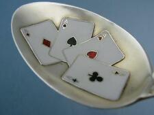 RARE Sterling & Enamel SHEPARD Souvenir Spoon w/ 4 Aces Cards Bowl Lebanon IN