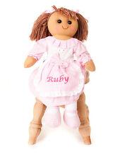 Personalised Embroidered Girls Vintage Style Rag Doll Pink Gingham brown hair 40