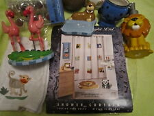 Animal Patch Shower Curtain Set 18pc Flamingo Penguin Panda Giraffe Sat Knight