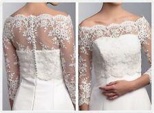 Lace Off Shoulder Wedding Shawl Lace Boleros Jackets Long Sleeves Custom