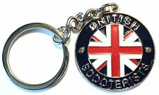 British Scooterist Metal Enamel Keyring MOD Scooter Rider Union Flag GB Britain