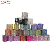 10Pcs Bling Diamond Rhinestone Mesh Wrap Napkin Ring Buckle Chair Wedding Decor