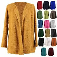 Womens Italian Boucle Knit Alpaca Wool Warm Waterfall Ladies Coatigan Jacket