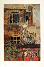 "PAUL YEOMANS ""Paws"" roof alley cat BROWSE OUR EBAY SHOP SIZE:50cm x 32cm  RARE"