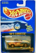 HOT WHEELS 1989 BLUE CARD '80'S CORVETTE #30 BLUE- TAN BAG W+