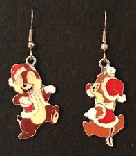 CHIP and DALE Earrings Stainless Steel Hook New Chipmunks Disney Christmas Red