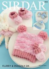 Sirdar 4858 Knitting Pattern Baby Hats Mittens & Bootees in Sirdar Flurry Chunky