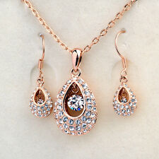 18K ROSE GOLD PLATED AND GENUINE AUSTRIAN CRYSTAL NECKLACE AND EARRING SET