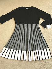 NWT NEW Calvin Klein elegant sweater dress CD5W1J7Q color blocks L LARGE 12 14