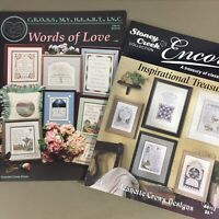 Lot of 2 cross stitch chart booklets Inspirational Treasures & Words of Love