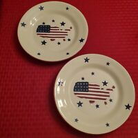 "Hartstone Two American Flag Map Plates STARS & STRIPES 9"" Pottery Retired HTF"
