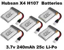 Hubsan X4 H107L LED QuadCopter Battery 5X Batteries 3.7v 240mah 25c Li-Po RC USA