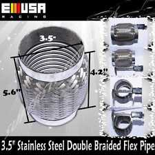 "3.5""I.D. x 5.6"" Stainless Steel Double Braided Flex Pipe For Honda Accord 3 1/2"""