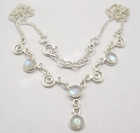 925 Sterling Silver BLUE FLASH RAINBOW MOONSTONE URBAN STYLE Necklace BESTSELLER