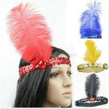 Retro Fancy Flapper Sequin Feather Hairband Headband Headpiece Dance Party Hot