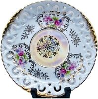 """Vintage Iridescent Reticulated Gold Rimmed Floral Porcelain Plate MH1424N 6.5""""W"""