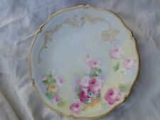 ANTIQUE HAND PAINTED FLORAL ROSES TV LIMOGES FRANCE PORCELAIN CABINET PLATE