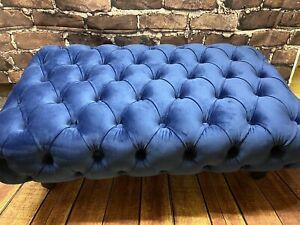 Marine Blue plush velvet chesterfield  stool footstool coffee table large....